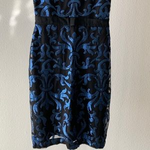 Taylor Dresses - Taylor Blue Sequin Print Sheath Dress